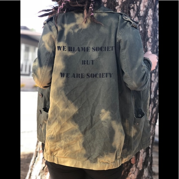 Jackets & Blazers - Upcycled Bleached Stud Grunge Army Style Jacket